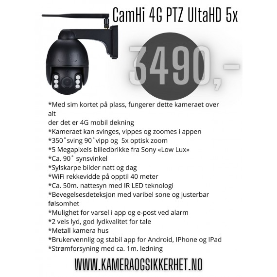 CamHi 4G PTZ UltraHD 5x Overvåkningskamera